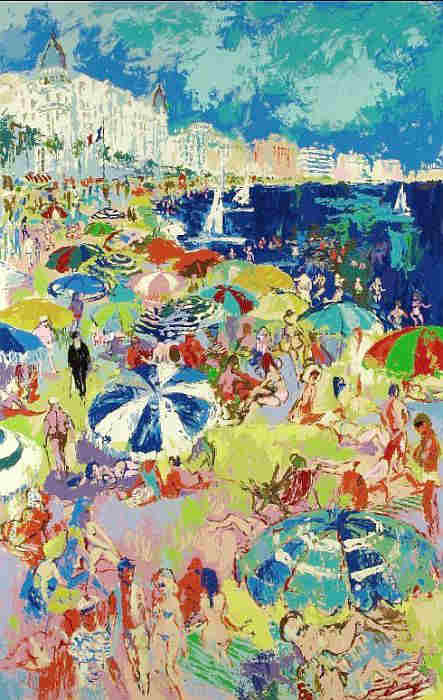 Beach at Cannes Leroy Neiman