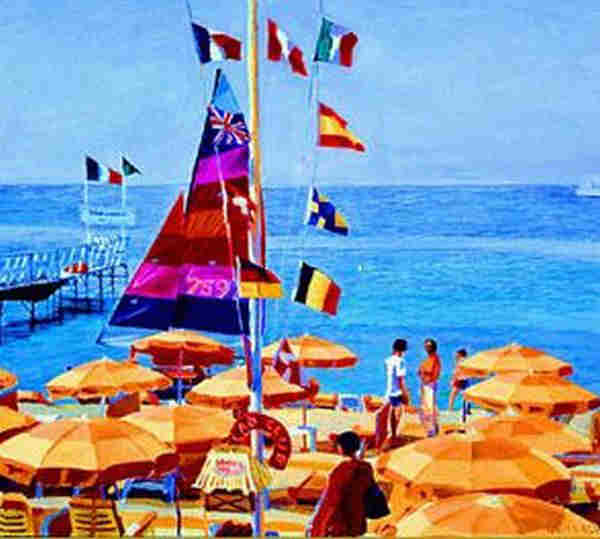Orange umbrellas and a sail at Carlton by Christopher Gerlach