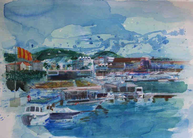 Cannes, port and Suquet  by Linda Nissen Samuels